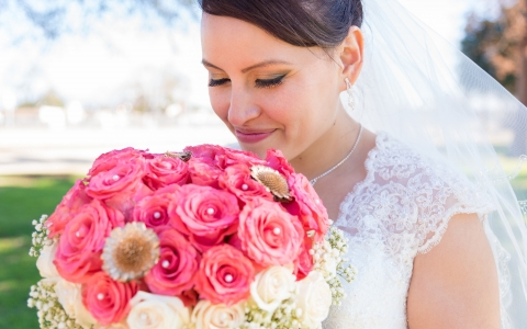 Bride with Pink & White Bouquet