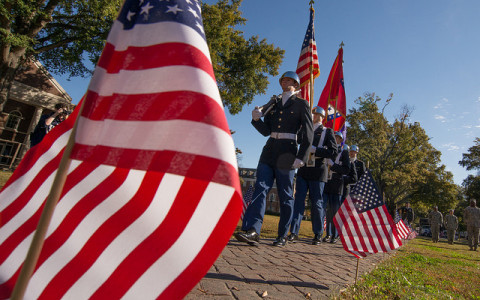 Flag and Colorguard in Recognition of Veterans Day
