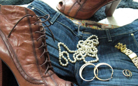 Pearls on Denim with High Heeled Boots