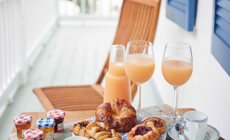 Enjoy the beautiful sunrise and all the fixings for breakfast.