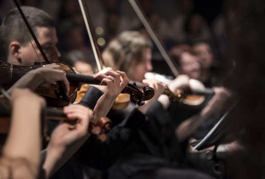 Closeup on a row of orchestral violinists with only two hands and one violin in sharp focus