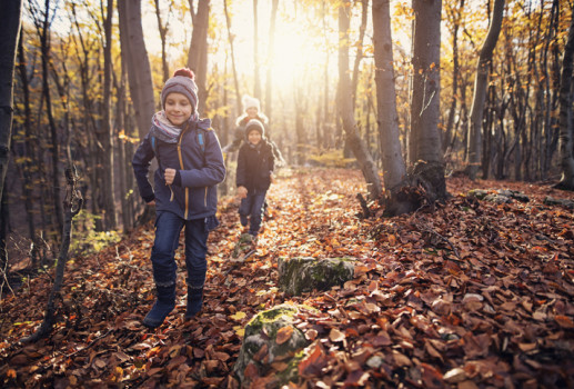 kids hiking in fall leaves