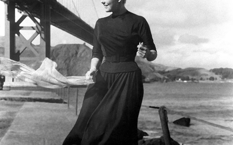 Black & White Photo of Kim Novak at Golden Gate Bridge
