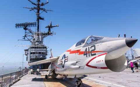 USS Hornet and Fighter Jet