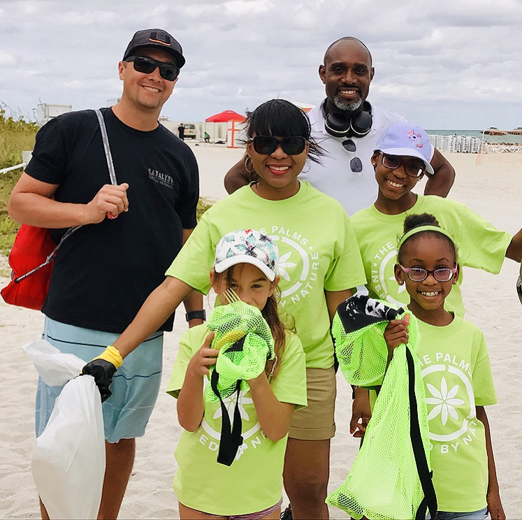 family beach cleanup
