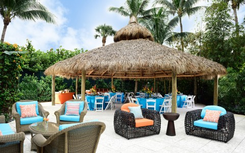 outdoor event space and tiki