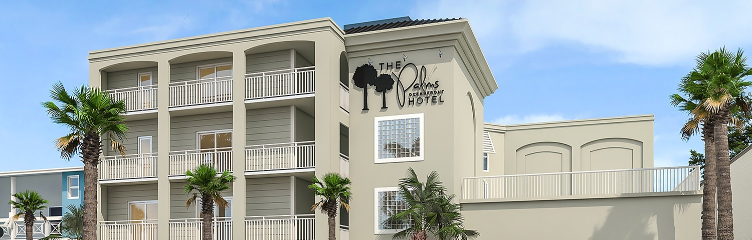 The Palms dark beige building with white balconies
