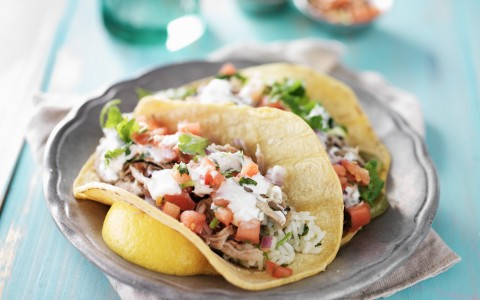 Soft tortilla tacos with rice, chicken, pico & sour cream