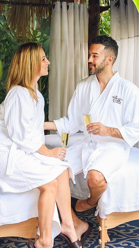 couple outside in robes