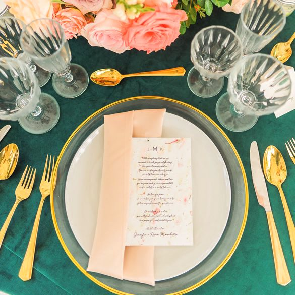 table at wedding with menu