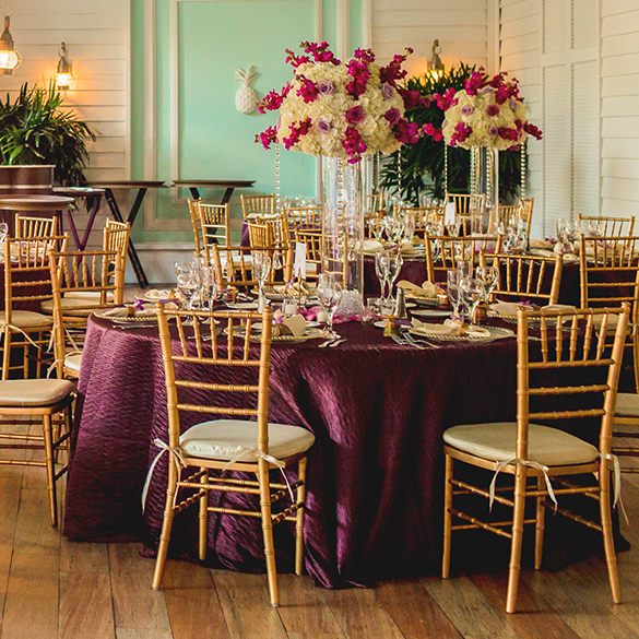 round table prepared for wedding reception