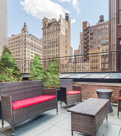 rooftop terrace with patio furniture