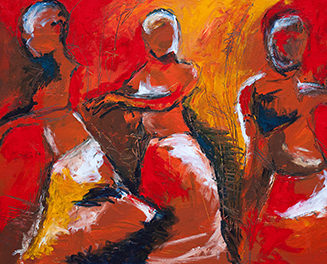 painting of red and orange men