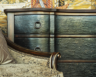 leather distressed trunk with iron knobs