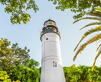 White lighthouse surrounded by greenery