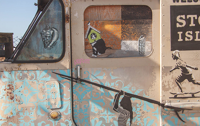 industrial style metal van with painting