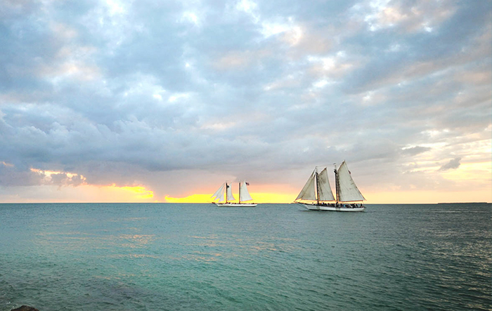 sail boat on horizon of sunset with green blue waters