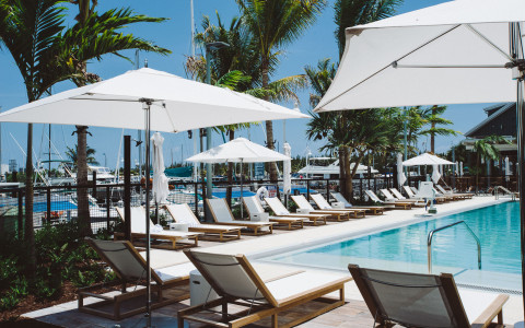 White lounge chairs and umbrellas around a pool