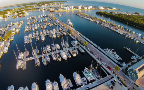 Aerial view of boats docked at a marina