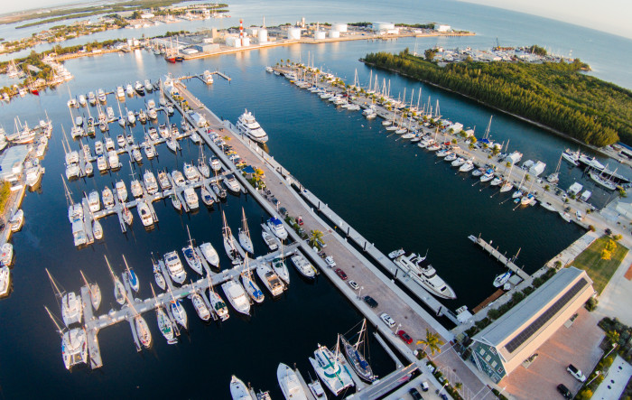 overhead view of marina and boats parked in slips