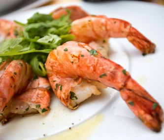 plated shrimp with arugula
