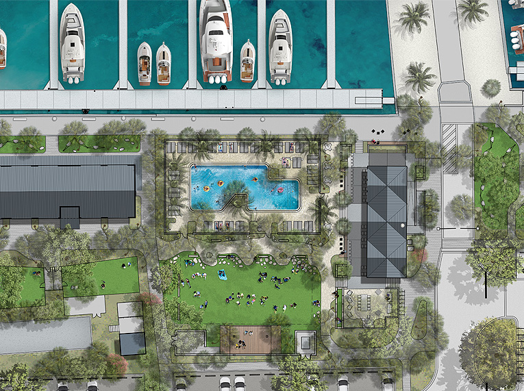 new event space rendering featuring two new buildings and pool