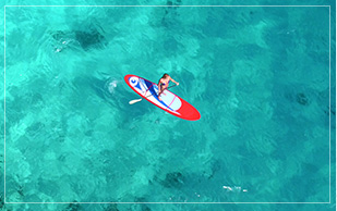 Arial view of man paddelboarding in the ocean