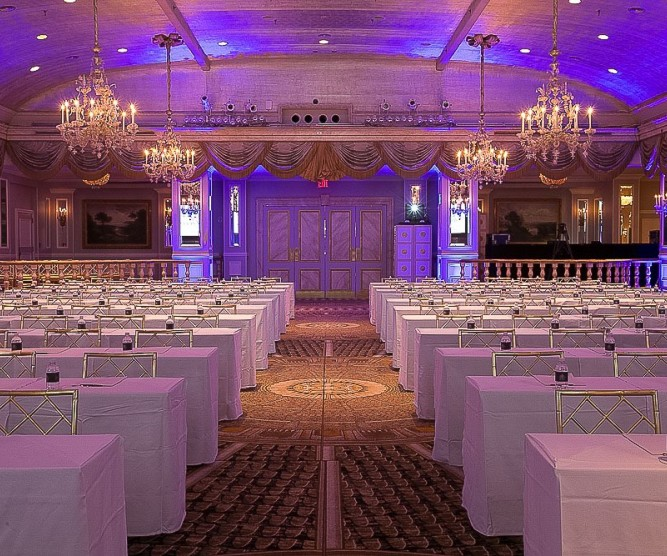 grand ballroom  with long tables and chairs