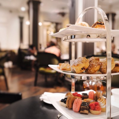 Three tier platter with pastries