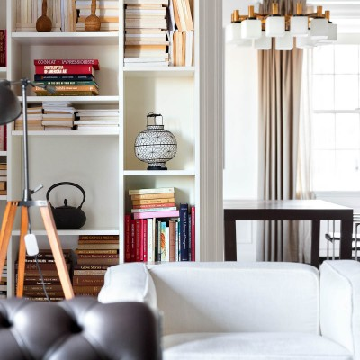 In-room living space with library shelves