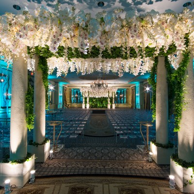 White flower arch set for wedding