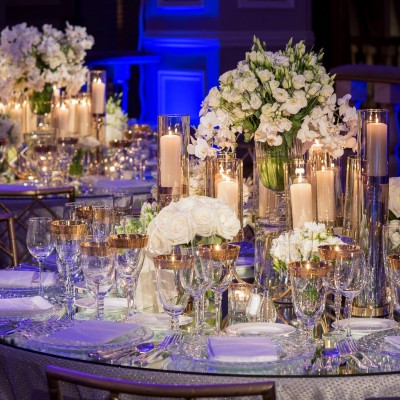glass tables with white flowers