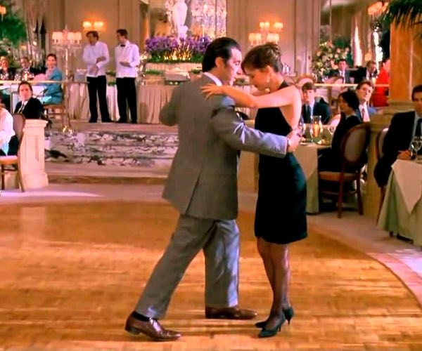 Couple dancing in ballroom
