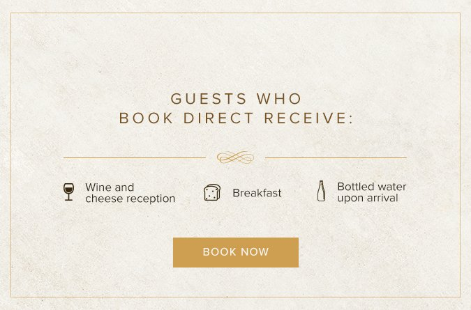Popup with book direct benefits. Click to book now