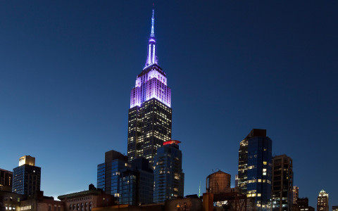 the top of the empire state building lit up purple at night