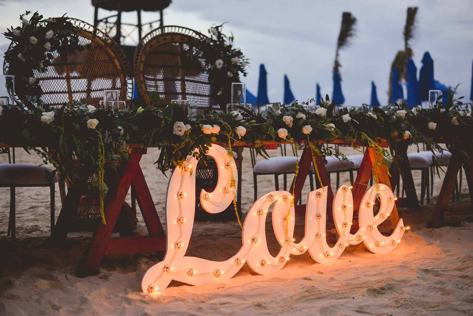 LOVE sign lit up