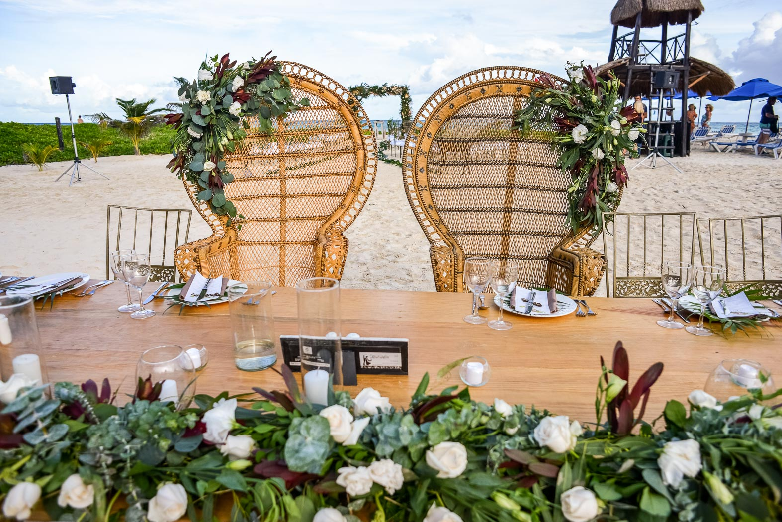 chairs for bride and groom set up outside