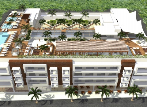 Digital view of Reef 28 rooftop pool and bar