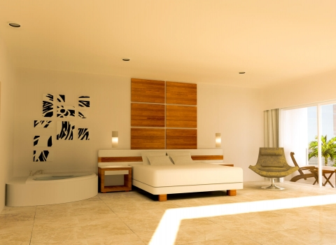Large bedroom with all white furniture and bathtub next to bed