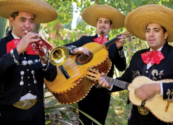 mariachi band in black outfits