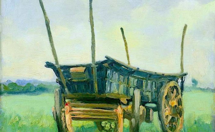 Watercolor painting of wagon in field by Verpilleux