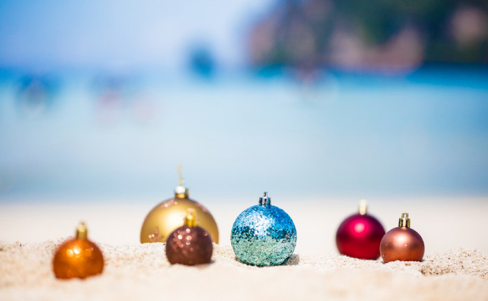 christmas ornaments in the sand