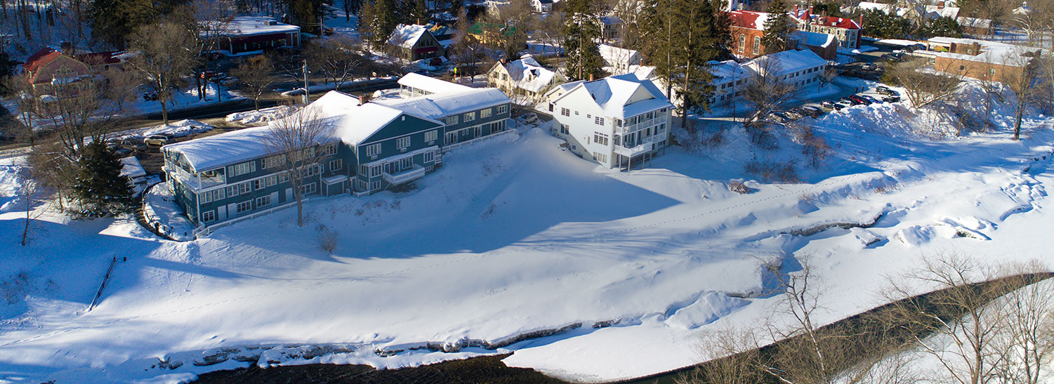 snow covered building and landscape