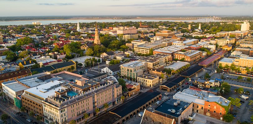 aerial shot of charleston 1