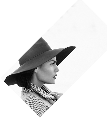 profile of a woman with coat and hat 3