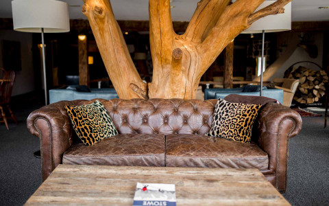 Brown couch with cheetah print pillows