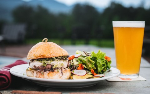 burger, salad and beer