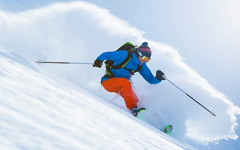 man skiing on the slopes