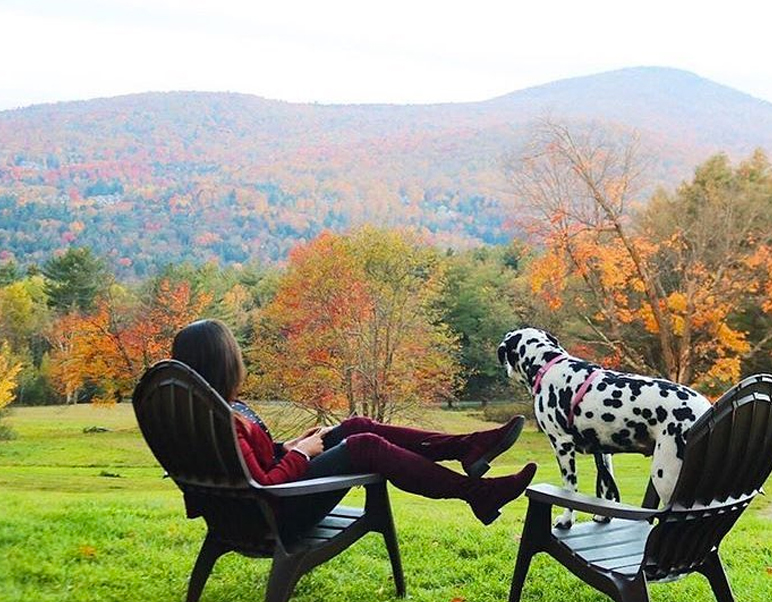 Woman relaxing in a chair with her Dalmatian in Fall
