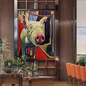 Modern painting of pig at dining area with long table